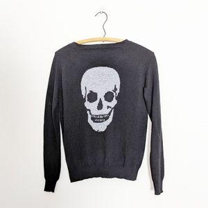 360 Cashmere Skull Print Pullover Sweater Black XS